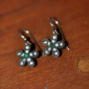 White Topaz and Green Crystal Daisy Earrings